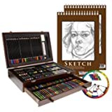 U.S. Art Supply 143 Piece-Mega Wood Box Art, Painting & Drawing Set with Color Mixing Wheel and Bonus 2-9