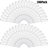 Bonayuanda 200pcs 0.2ml Disposable Plastic Graduated Transfer Pipettes Dropper