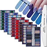 WOKOTO 8 Sheets Nail Art Polish Stickers Strips With 1Pcs Nail File Full Wraps Nail Adhesive Decals Gradient Glittery Manicure Kit For Women
