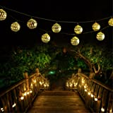 Solar String Light Outdoor, Goodia 30 LED Gold Moroccan Waterproof Warm White String Lights for Curtain,Bedroom,Patio,Lawn,Landscape,Fairy Garden,Home,Wedding,Holiday,Christmas Tree,New Year,Party (Color: 30 LEDS - Golden Moroccan String Light(Solar Power), Tamaño: 30 LEDS Solar Power - Gold Shell)