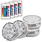 Topist Submersible LED Light, 10-LED RGB Waterproof Battery Powered Lights with IR Remote Controller for Aquarium, Vase Base, Pond, Swimming Pool, Garden, Party, Weeding, Christmas, Halloween,4 Pack (Color: Multi-colored)