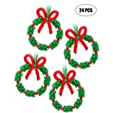jollylife Christmas Beaded Ornament Kit - Xmas Party Craft Wreath Holiday Tree Decorations Kids Supplies 24PCS (Color: Red,green)