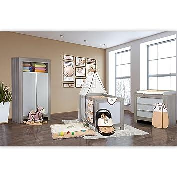 Babyzimmer Felix in akaziengrau 20 tlg. mit 2 turigem Kl. + Kleine Eule in Beige