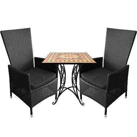 3tlg.Balkonmöbel Mosaiktisch 70x70cm Alu Poly-Rattan Sessel inkl. Sitzkissen Ruckenlehne verstellbar Schwarz Terrassenmöbel Sitzgarnitur Sitzgruppe