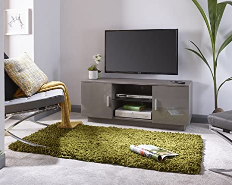 Lima de alto brillo mueble de TV en gris