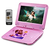 UEME Portable DVD CD Player with 10.1 Inches LCD Screen, Canvas Headrest Holder, Remote Control, Car Charger Wall Charger, Personal DVD Players with Built-in Rechargeable Battery (Pink) (Color: Pink)