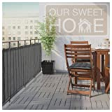 Balcony Privacy Screen Cover – Heavy Duty 210 GSM, UV and Weather Resistant, High Visibility Reduction – Includes Rope & Black Cable Ties for Porch, Patio, Apartment, Deck – Dark Gray/Grey, 3' X 16' (Color: Grey, Tamaño: 3' X 16')
