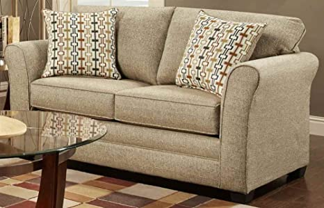 Contemporary Loveseat in Mover Straw Finish