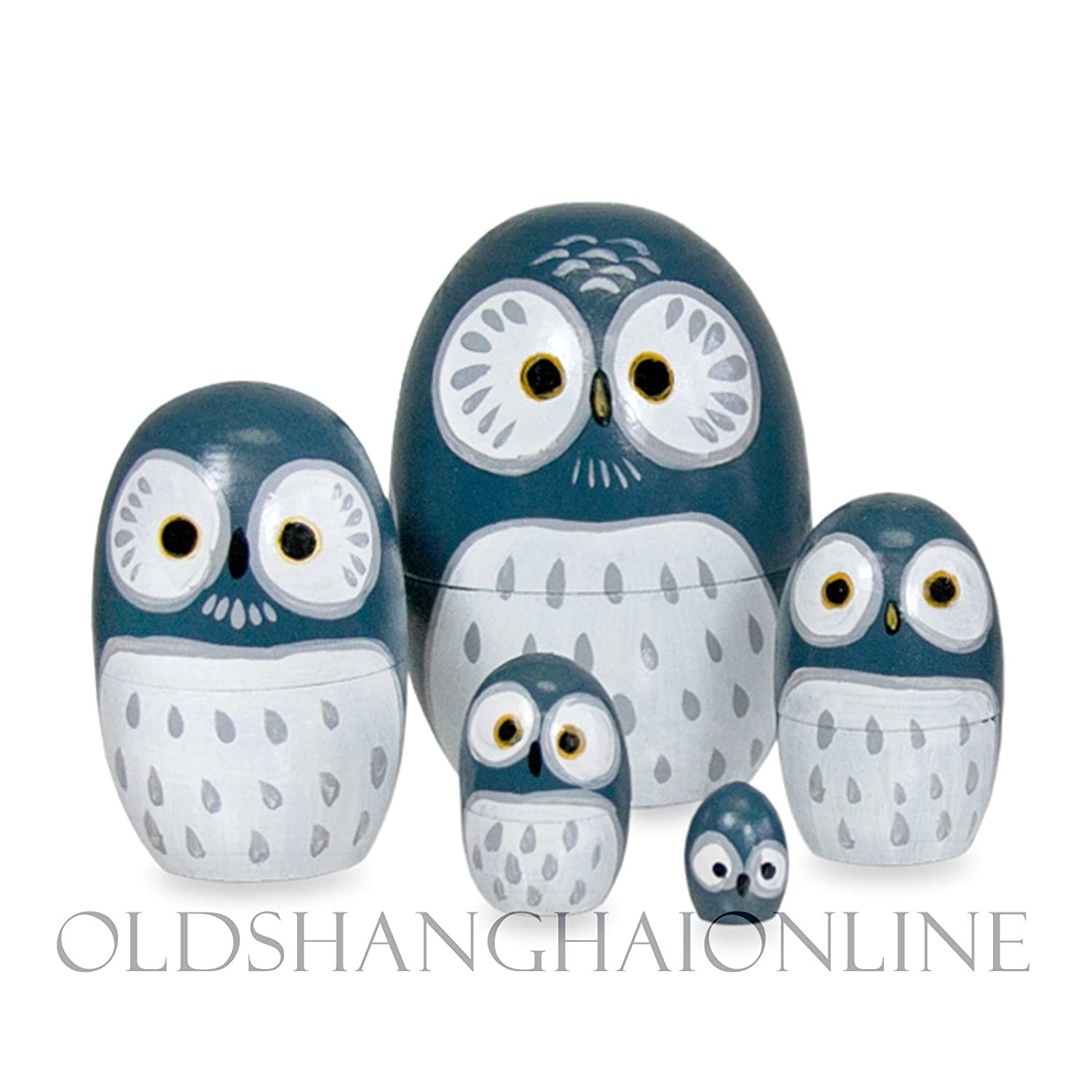Russian Nesting Dolls Owls Wood Nesting Doll Owl Blue