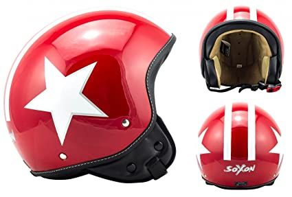 SOXON SP-301 Star red - casque JET moto Cruiser Pilot rouge - Taille: XS S M L XL