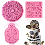 Vodolo 3 Pack Steampunk Cogs Mold, Clock Watch Wheel Gears Silicone Fondant Mold Chocolate Mold for Cupcake Toppers Party Cake Decoration etc. (Color: Color1)