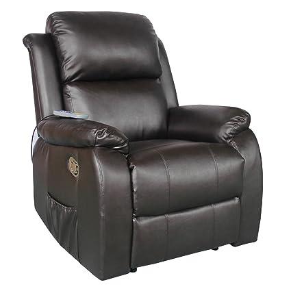 Fernsehsessel mit Heizung Massage Kunstleder Relaxsessel TV Sessel braun