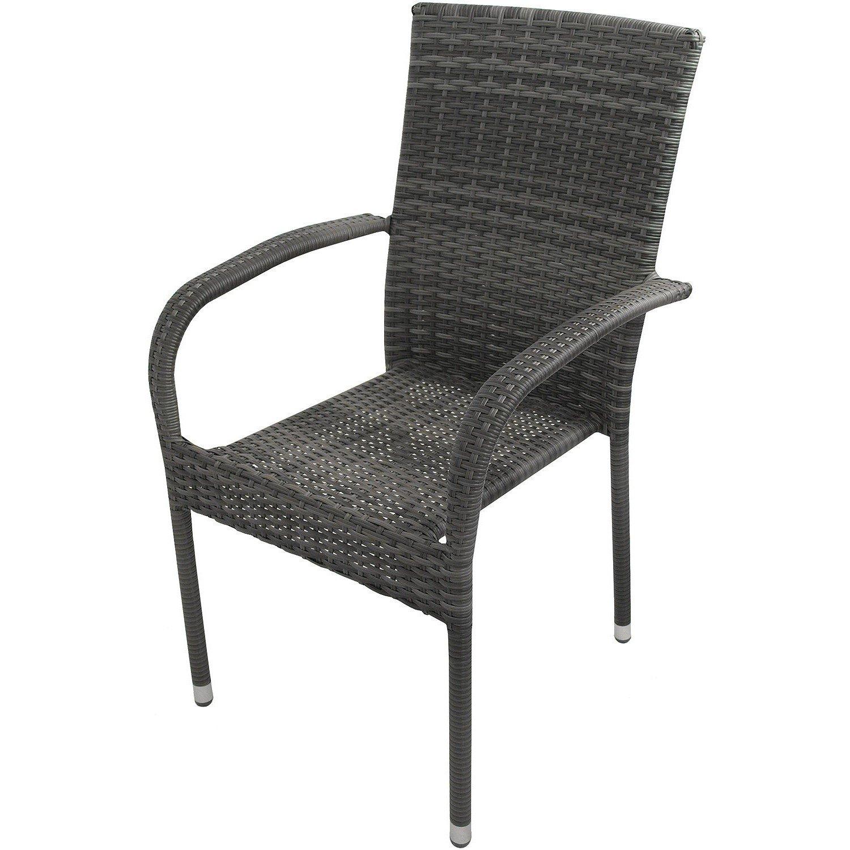 Poly Rattan Sessel stapelbar nordic grey Rattanstuhl Rattansessel Stapelstuhl Stapelsessel Gartensessel Gartenstuhl Esszimmerstuhl online kaufen