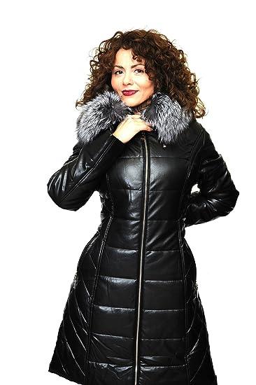 Damen Winter Eco Ledermantel Lederjacke mit abnehmbaren Silberfuchs Pelzkragen Pelz Kapuze Echtfell Echtpelz