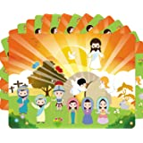 ceiba tree Make an Easter He Lives Sticker Scenes Resurrection Stickers 12 Sets for Vacation Bible School Supply Classroom Activity (Color: Easter Sticker Scene)