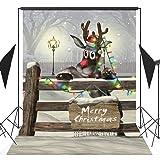 GoodsFederation 5x7ft Christmas Photo Backdrops Lovely Christmas Elk Pictorial Cloth Vinyl Photography Background Customized Studio Props SDJ-111 (Color: SDJ-111, Tamaño: 5X7FT)