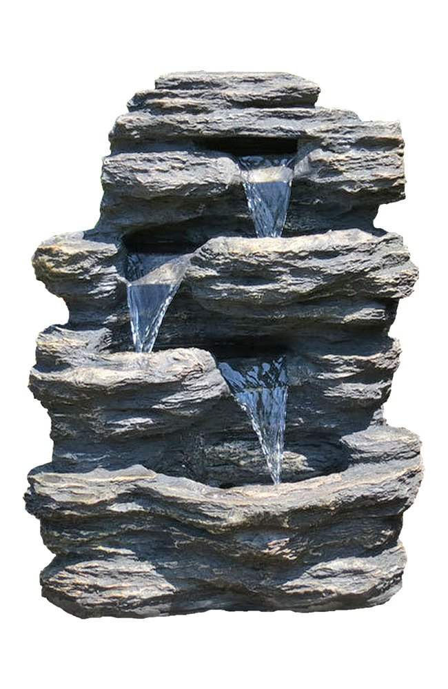 24 Quot Rock Waterfall Garden Fountain W Led Lights Perfect