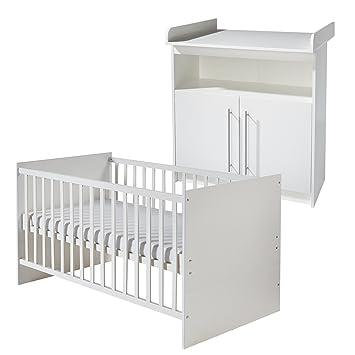 roba Komplett-Kinderzimmer 'Maren', Babyzimmer Set weiß mit Baby- & Kinderbett 70x140 cm & Wickelkommode