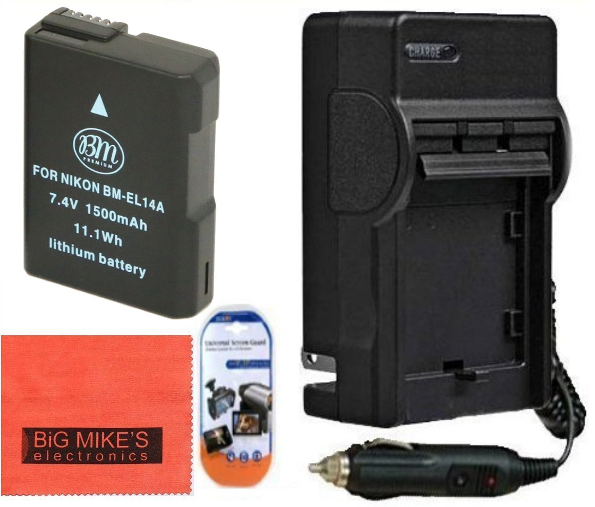 BM Premium ENEL14, EN-EL14, EN-EL14A Battery and Charger Kit for Nikon Coolpix P7000, P7100, P7700, P7800, D3100, D3200, D3300, D5100, D5200, D5300, DF Digital SLR Camera + More!