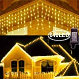 Hezbjiti 8 Modes LED Icicle Lights,65.6 FT 640 LED 120 Drops Fairy String Lights Plug in Extendable Curtain Light String Christmas Lights for Bedroom Patio Yard Garden Wedding Party (Warm White) (Color: Warm white 2)