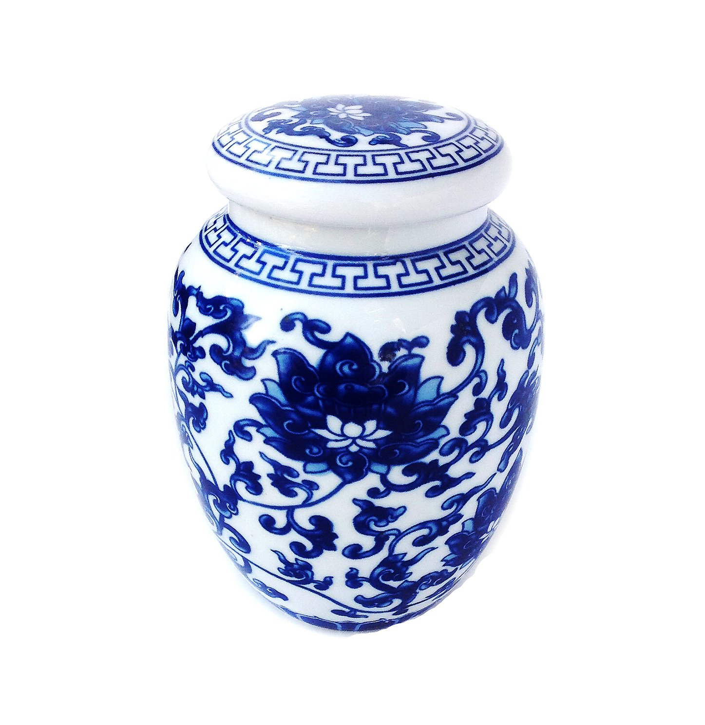 Decorative Blue and White Lotus Pattern Porcelain Tea Storage Container or Display Unit