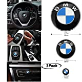 3Piece DIY BMW Steering Wheel Emblem Decal, BMW Multimedia Center Button iDrive Controller Decal, BMW Radio Button Decal, for BMW Decoration Combination (Color: BMW Button Badge)