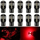 AMAZENAR 10-Pack T10 194 168 168 2825 Extremely Bright Red 200Lums Canbus Error Free 12V LED Light,8-SMD 5730 Chipsets Car Replacement Bulb For Map Dome Courtesy License Plate Side Marker Light (Color: 10-Pack Red)