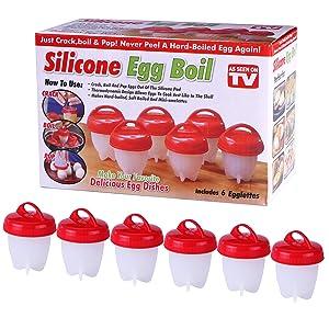 AOSKA Egg Cooker-Silicone Egg Poachers for hard boiled eggs,Egg Cups AS SEEN ON TV,Hard&Soft Maker,Boil Eggs Without the Egg Shell (Pack of 6)
