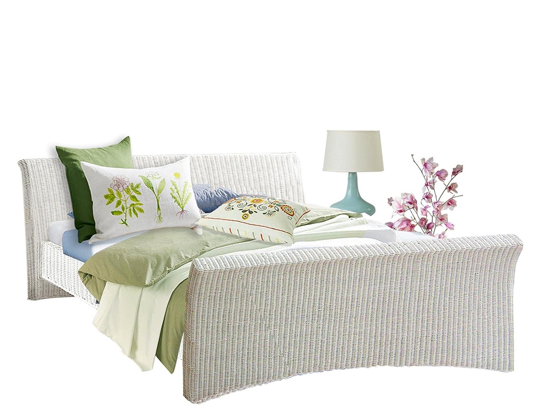 Bett NADIA 180 cm in Rattan aus Rattan in weiß von Loft24 - 7921849