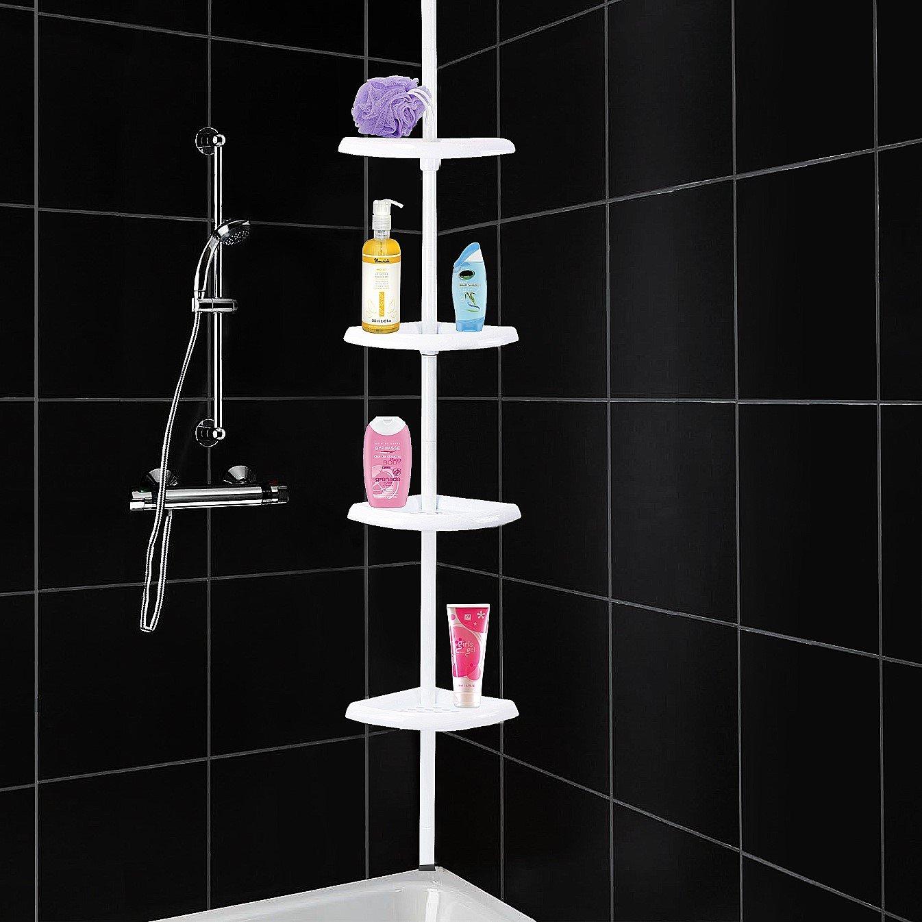 Adjustable 4 tier bathroom corner shelf storage caddy for Floor to ceiling shower caddy
