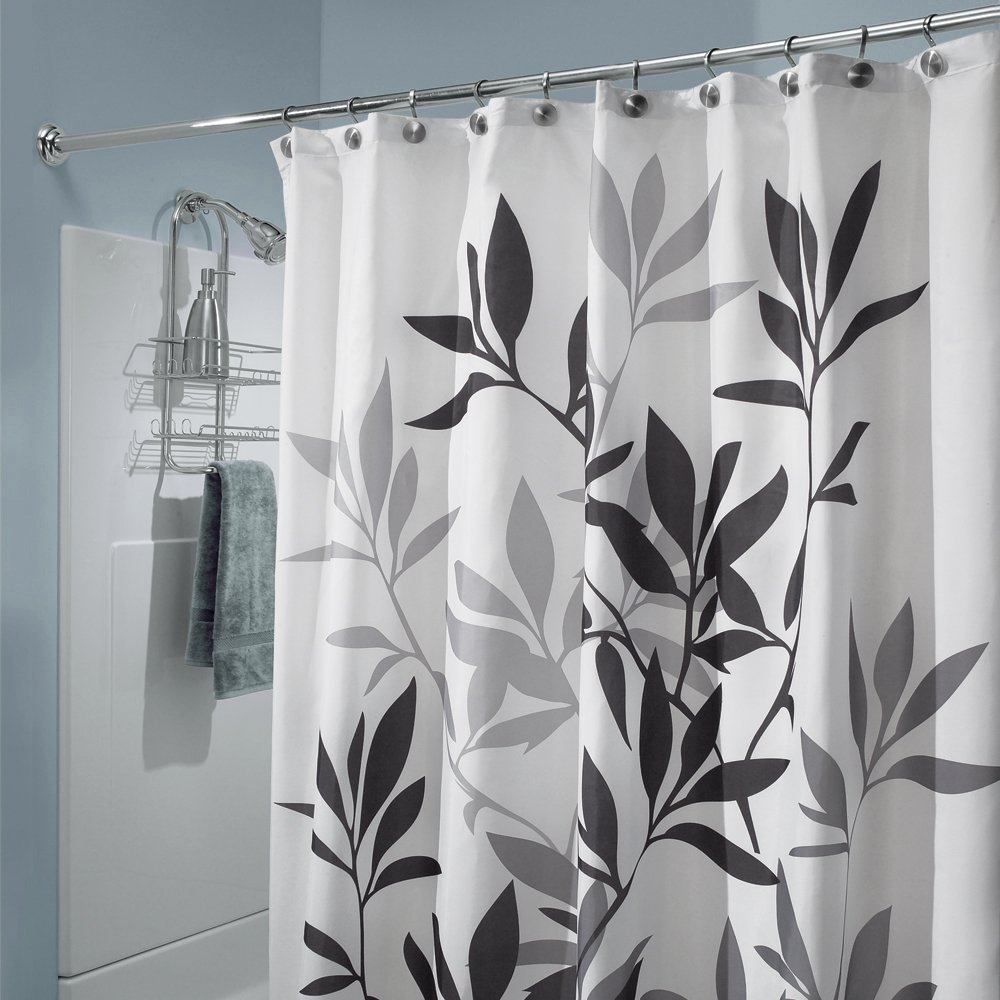Black And White Kitchen Curtains Amazon Com: InterDesign Leaves Shower Curtain, Black And Gray, 72-Inch