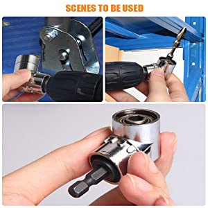 CIGOTU Right Angle Drill, 105 Degree Multifunction Right Steel Angle Driver Angle Extension Power Screwdriver Drill with 1/4 Drive 6mm Hex Quick Change Magnetic Drill Bit Angled Bit Power Drill Tool