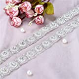 Sew Iron on Silver Rhinestone Belt Applique Pearl for Dress, LUCKY GODDNESS Handmade Sparkly Crystal Bridal Wedding Belts for Evening Prom Gown (Color: Silver-009S, Tamaño: 1 Yard)