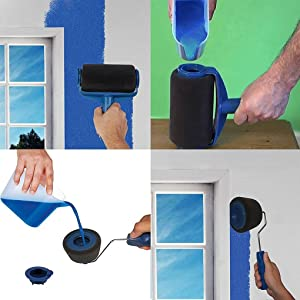 Paint Roller with Reservoir 8PCS/Set ,Paint Roller,Paint Brush Roller Set DIY Paint Roller Kit Wall Painting Runner Pintar Facil Decoration Wood Finishing