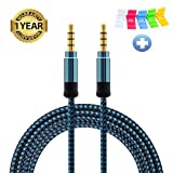 Nylon Braided Tangle-Free Auxiliary/Aux Cord(5ft/1.5m) DFrhythm 3.5mm 4 Pole Male to Male Stereo Cable for Car Smartphone Tablets Headset PC Laptop Speaker MP3 Players (blue)