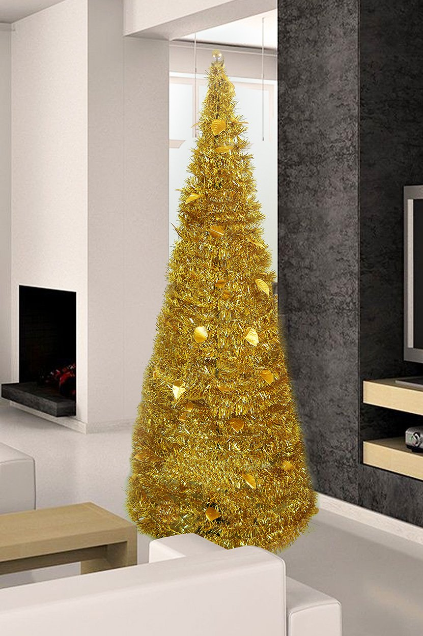 Christmas Tree 5' Collapsible Pop-up Tinsel Metallic Cone Modern Decor Holiday Design (Gold)