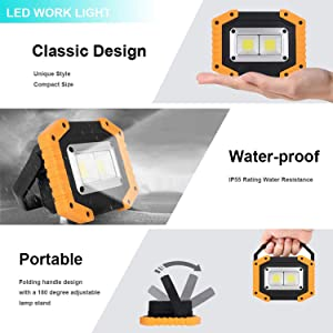 Portable LED Work Light,XQOOL Rechargeable COB Work Lamp Waterproof LED Flood Light with Stand Built-in Power Bank Job Light for Indoor Outdoor Lighting (YELLOW/2PACK) (Color: Yellow/2pack)