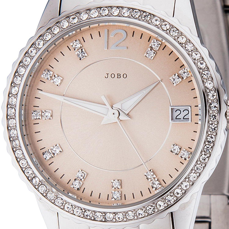 Damen-Armbanduhr Quarz Analog Edelstahl mit Kristall-Elements Mineralglas online kaufen