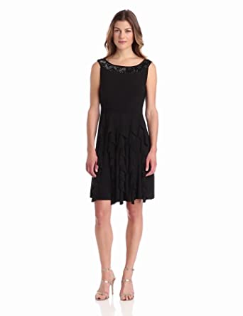 Tiana B Women's Sleeveless Dress with Neckline Yoke, Black, 8