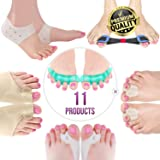 Orthopedic Bunion Corrector & Bunion Relief Elastic Sleeve Protectors, Gel Separators Spacer Spreader, Hammer Turf Big Toe Brace Straightener Splint, Ball Stretcher Heel Cushion Inserts for Women M-L (Color: Multi)