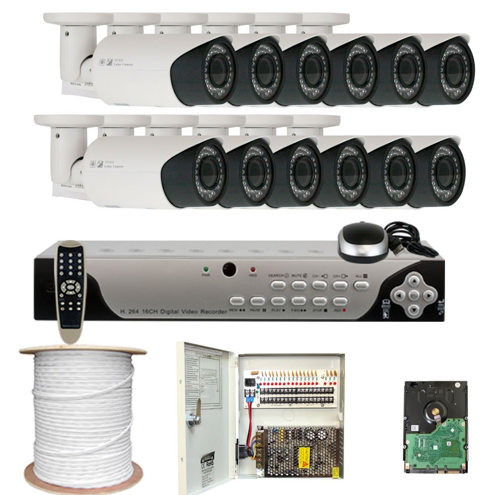 GWSecurity Security DVR Surveillance Camera System With Hard Drive Sony EXview CCD 700TVL Outdoor Security Camera Built-in 2.8~12mm Varifocal Zoom Lens 115 ft IR Day/ Night Vision zosi 1080p 8ch tvi dvr with 8x 1080p hd outdoor home security video surveillance camera system 2tb hard drive white