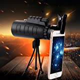 Phone Telescope, Hometom 40x60 Outdoor Single Mini HD Monocular Cell Phone Camera Lens Telescope (Black) (Color: Black)