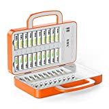 EBL 40Slot Battery Charger for 2/4/6.20/24.38/40 pcs AA AAA Rechargeable Batteries - Advanced Multiple Battery Charger with 4 USB Output for Phones and Tablet - Handle Design, Vitality Orange