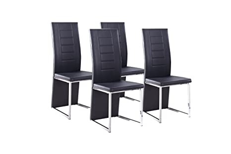 Cavadore Stuhl 4-er Set Esther / Stuhle ohne Armlehne in modernem Design / Lederimitat / Stuhlset Schwarz / 54 x 42,5 x 103 cm (T x B x H)