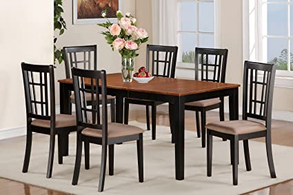 East West Furniture NICO7-BLK-C 7-Piece Dining Room Table Set, Black/Cherry Finish