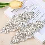 Rhinestone Applique for DIY Wedding Dress, Bridal- Accessories (2 Piece Silver) (Color: 2 Piece Silver)