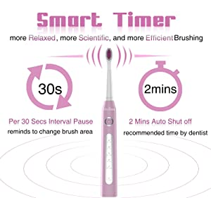 5 Modes Teeth Whitening Electric Toothbrush Sonic Toothbrush with 3 heads and 1 Interdental head, Travel USB Rechargeable toothbrushes with Smart Timer, Waterproof Pink for Girls by Gloridea (Color: 507 Pink, Tamaño: Crystal)