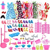 Pausseo 83-Pack Barbie Doll Handmade Clothes Mini Dresses Set - Party Grown Outfits and Randomly 90 Pcs Different Barbie Doll Accessories Fit 11.5