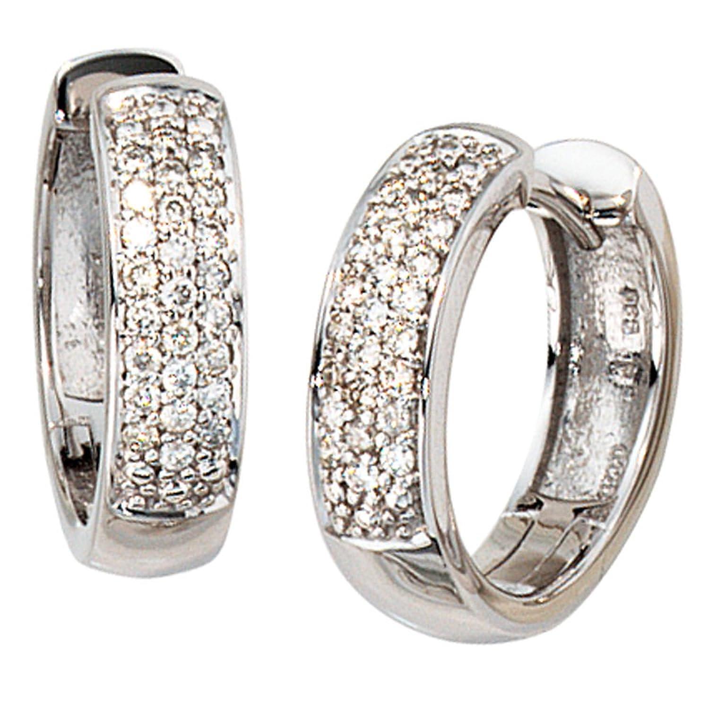 Damen Gold Creolen 585 Gold Weißgold 50 Diamanten Brillanten 0,25ct. schenken