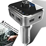 Heiyo FM Transmitter-Car Safety Hammer Wireless Bluetooth Music Player with Car Charger Radio Adapter Supporting Hands Free Calling¦Voice Navigation¦TF Card¦USB Stick Play